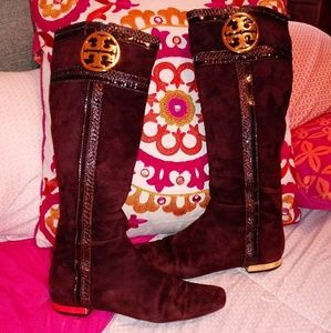 Tory Burch VGUC Edith Suede Knee-High Boots 8.5